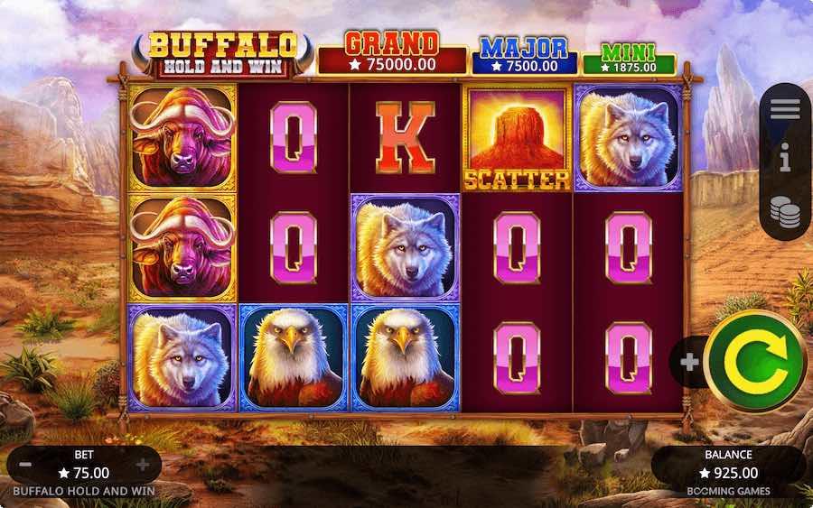 BUFFALO HOLD AND WIN SLOT ธีม, การจ่ายเงิน & สัญลักษณ์ต่างๆ
