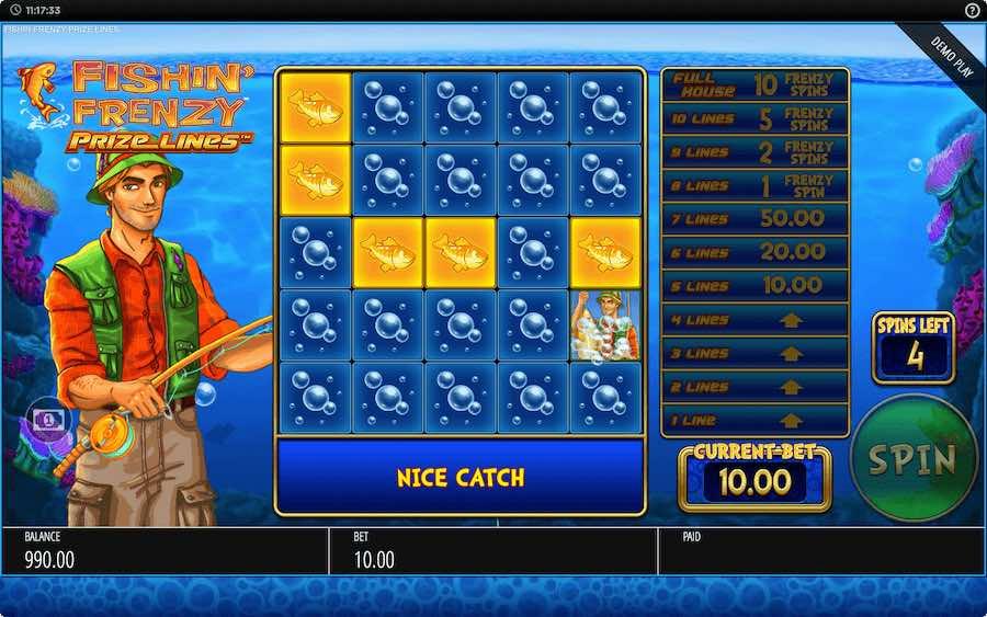 FISHIN FRENZY PRIZE LINES ธีม, การจ่ายเงิน & สัญลักษณ์ต่างๆ
