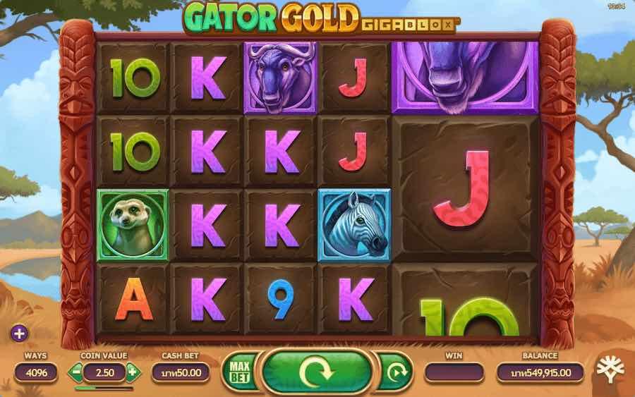 GATOR GOLD GIGABLOX SLOT ธีม, การจ่ายเงิน & สัญลักษณ์ต่างๆ