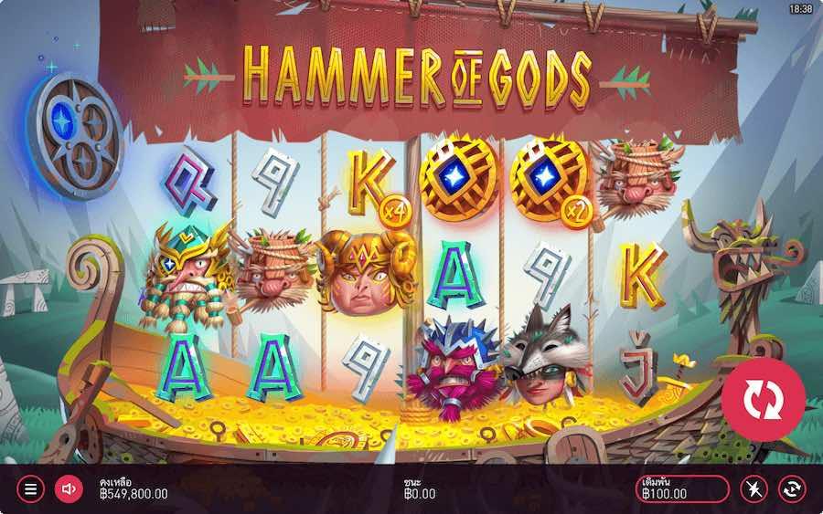 HAMMER OF GODS SLOT ธีม, การจ่ายเงิน & สัญลักษณ์ต่างๆ
