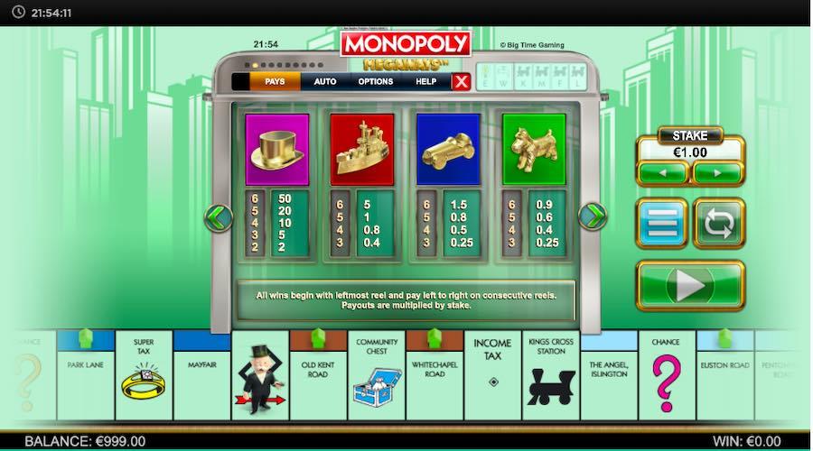 MONOPOLY MEGAWAYS™ ธีม, การจ่ายเงิน & สัญลักษณ์ต่างๆ